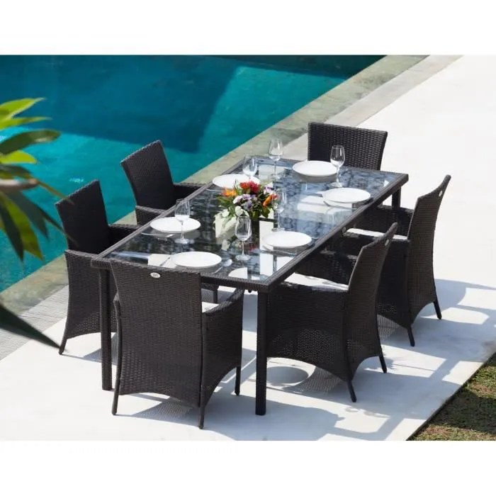 BORA Ensemble table de jardin 6 places en r    sine tress    e et     BORA Ensemble table de jardin 6 places en r    sine tress    e et aluminium    Gris anthracite