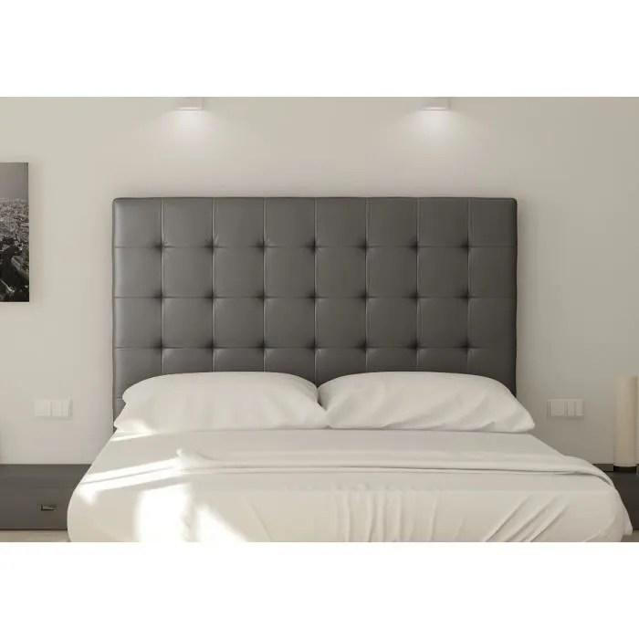 sogno tete de lit capitonnee simili gris l 180 cm