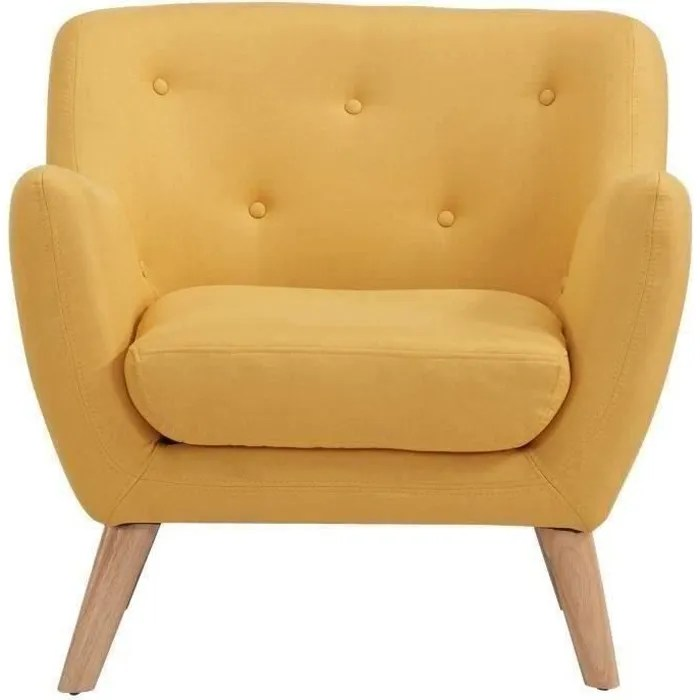 scandi fauteuil scandinave en tissu chine jaune l 79 x 82 cm