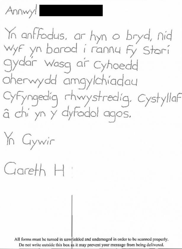 A letter sent to S4C from jailed paedophile Gareth Vincent Hall