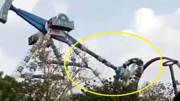 Lunaparkta dehşet anları kamerada! 20 metreden çakıldılar