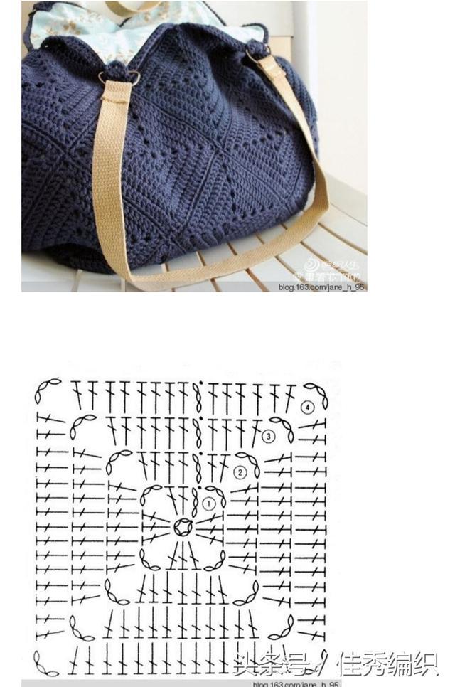 鉤針編織教程圖解 藍色休閒鉤針包包大挎包 - 每日頭條