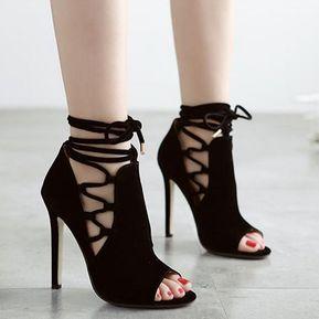 Zapatos De Tacón Ante Rojos Con Plataforma