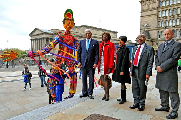 His Excellency Garvin Nicholas, Trinidad and Tobago High Commissioner in Britain, is welcomed to Liverpool
