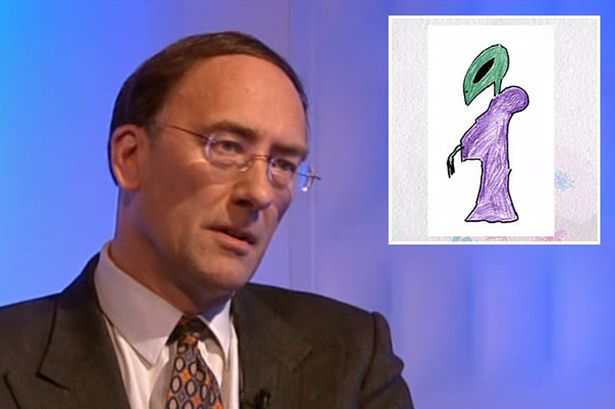 "First alien Simon Parkes met was ""a green creature, about 7ft tall, wearing a purple robe"""