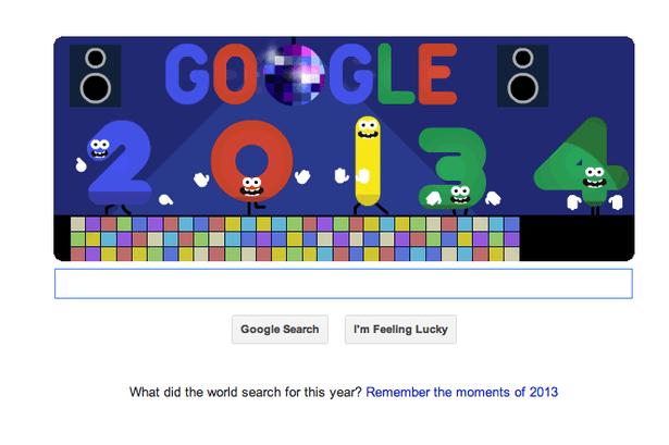 Disco dancing: New Year's Eve 2013 Google Doodle