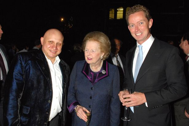 Andrew Charalambous , Baroness Margaret Thatcher and Greg Barker (Shadow Secretary of State for the Environment) at the Goring Hotel in Belgravia London Summer Party