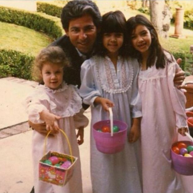Kim Kardashian posted an image of her with her sisters Kourtney and Khloe along with her father Robert at Easter