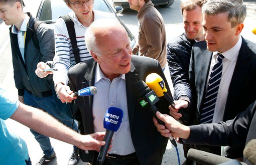Football Association chairman Greg Dyke arrives for a meeting at UEFA in Zurich