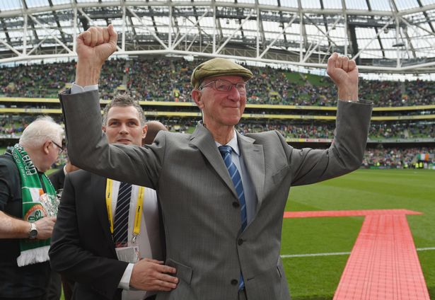 Sir Jack Charlton waves to fans before the international friendly
