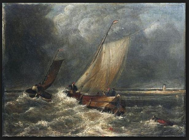 Turner painting Fishing Boats in a Stiff Breeze