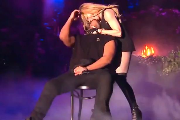 Recording artists Madonna (L) and Drake perform onstage during day 3 of the 2015 Coachella Valley Music & Arts Festival