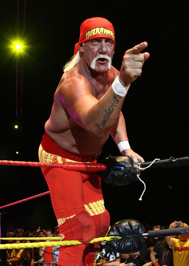 Hulk Hogan gestures to the audience during his Hulkamania Tour at the Burswood Dome on November 24, 2009 in Perth, Australia