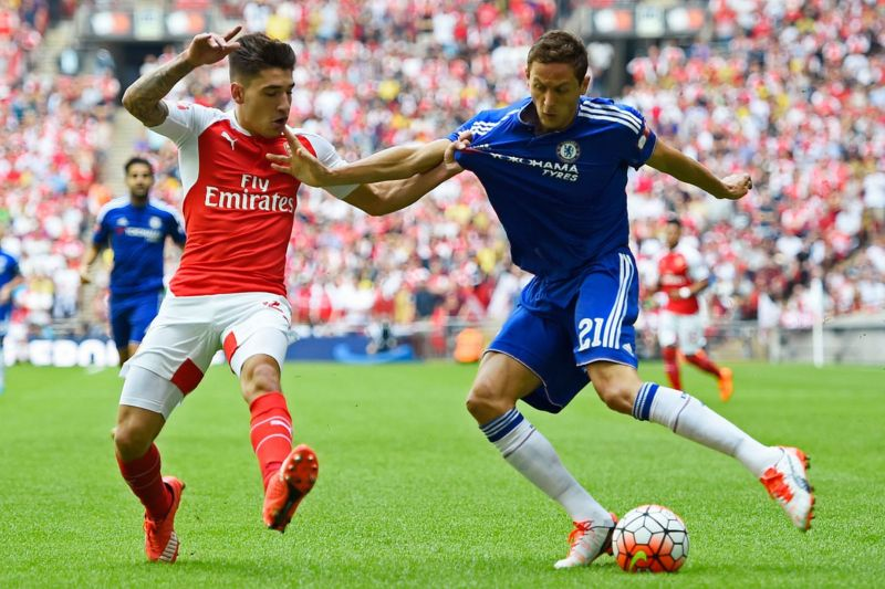 Hector Bellerin in action with Nemanja Matic