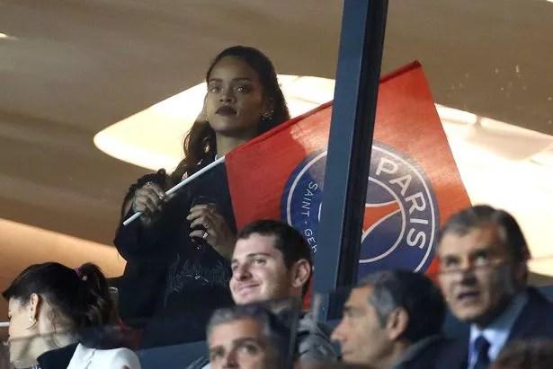 Rihanna attends the French Ligue 1 match between Paris Saint-Germain FC (PSG) and Olympique de Marseille at Parc des Princes stadium