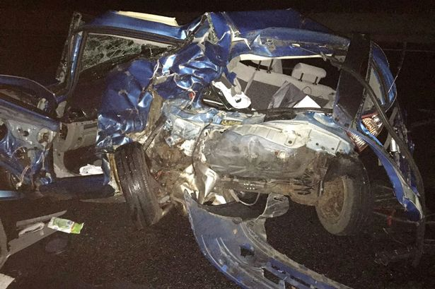 North Yorkshire traffic cop Paul Cording tweeted a picture of the wreckage of the Clio
