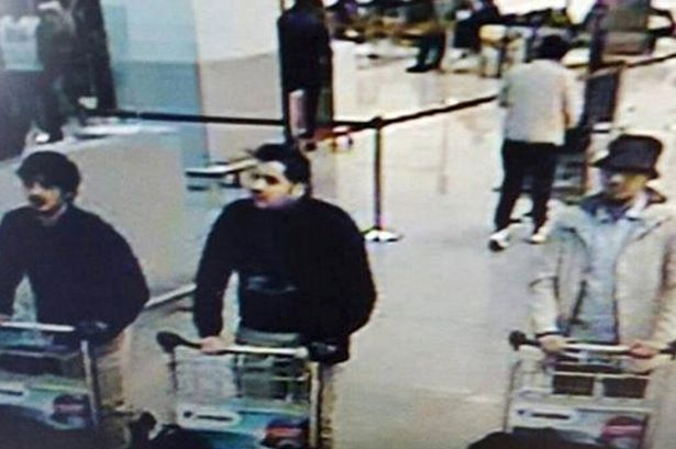 CCTV image from the Brussels Zaventem Airport surveillance cameras made available by Belgian Police