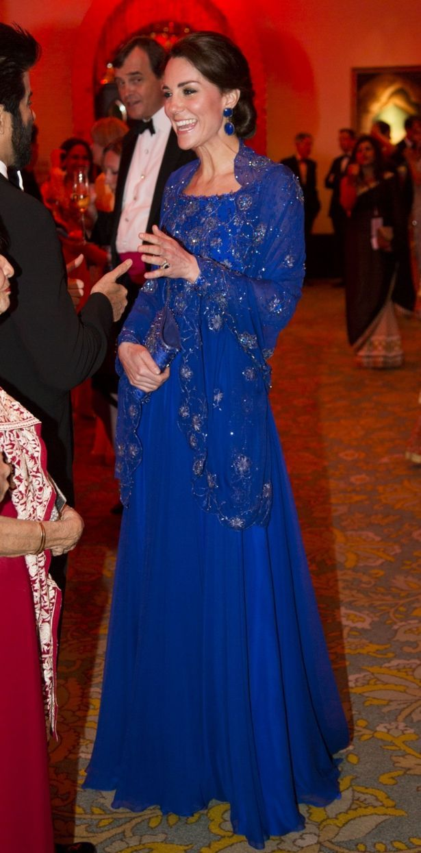 Kate Middleton wore a Jenny Packham gown with matching bag for the Bollywood gala
