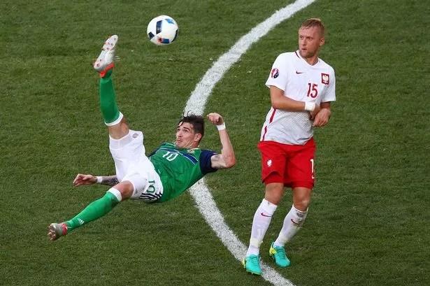 Kyle Lafferty attempts an overhead kick