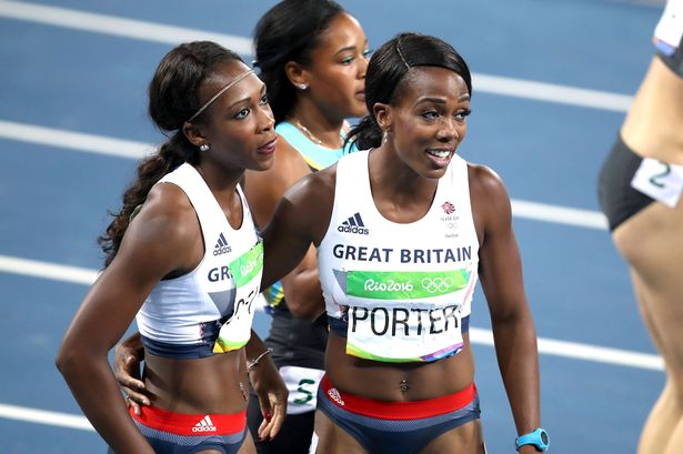 Great Britain's Tiffany Porter (right) and Cindy Ofili react after the Women's 100m hurdles final
