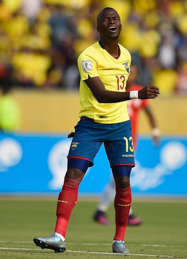 Ecuador's Enner Valencia gestures during the Russia 2018 World Cup football qualifier match