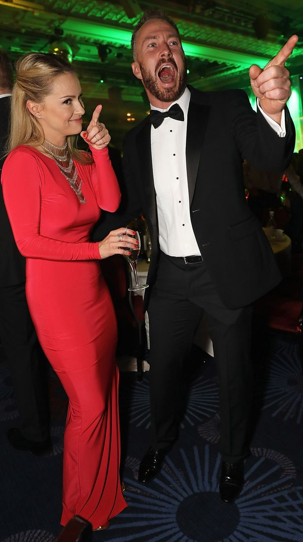 Ola Jordan and James Jordan attend 'An Evening With The Stars' charity gala in aid of Save The Children at The Grosvenor House Hotel on October 25, 2016 in London, England