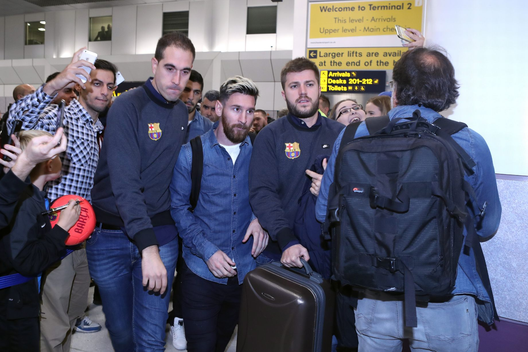 Lionel Messi arrives at Manchester Airport