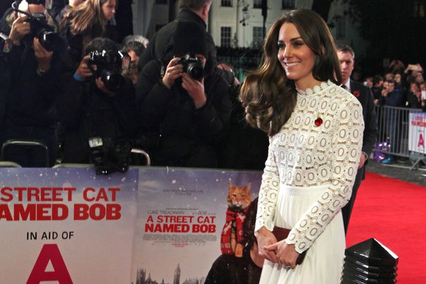 "Catherine, Duchess of Cambridge, attends the UK Premiere of ""A Street Cat Named Bob"" in aid of Action On Addiction at The Curzon Mayfair"