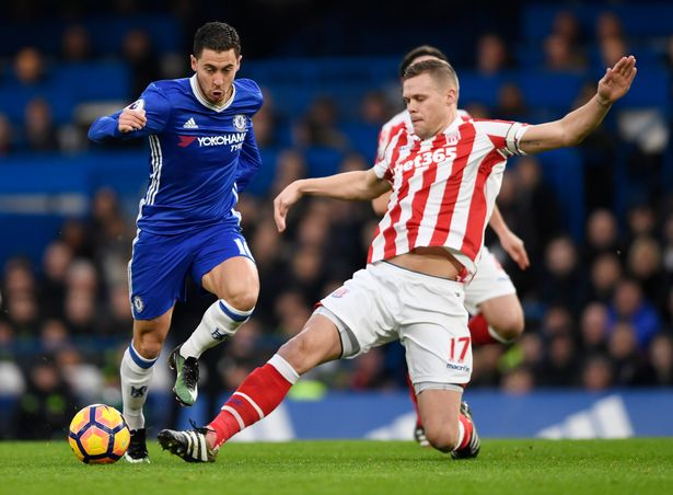 Eden Hazard in action with Ryan Shawcross