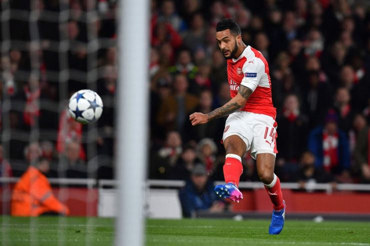 Theo Walcott scores the opening goal