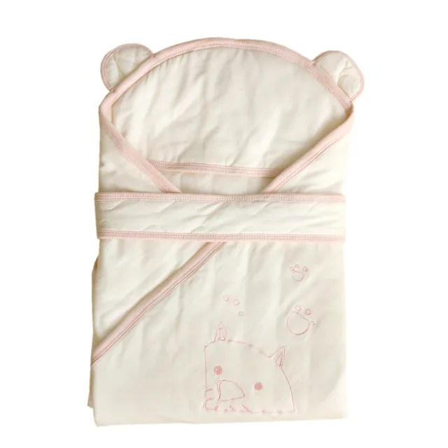 【azure canvas藍天畫布】有機棉嬰兒鋪棉包巾-原米粉紅邊(冬季適用)