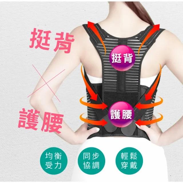 【JS嚴選】*全新升級六條軟鋼條*竹炭可調式多功能調整型美背帶(601美背帶+拇指護腕+魔術腰包)