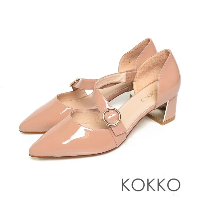 【KOKKO 集團】優雅赫本不對稱真皮方頭鏡面粗跟鞋(芭比粉)