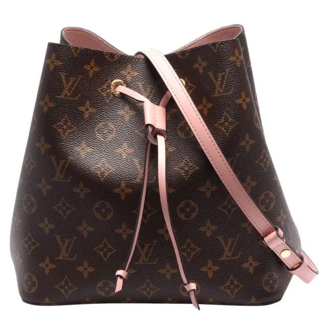 【Louis Vuitton 路易威登】M44022 經典Neonoe系列Monogram帆布印花牛皮鑲飾束口斜背/肩背水桶包