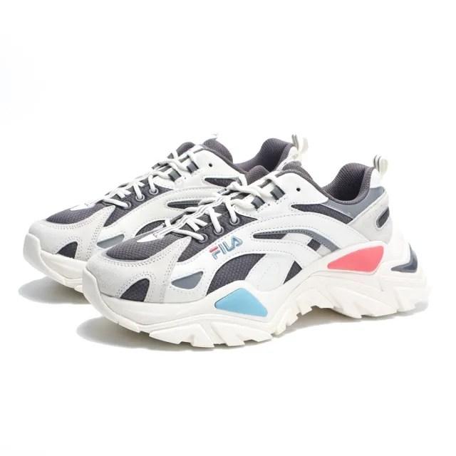 【FILA】休閒鞋 老爹鞋 米白 紅藍 復古 增高 INTERATION LIGHT 男女(4C107V123)