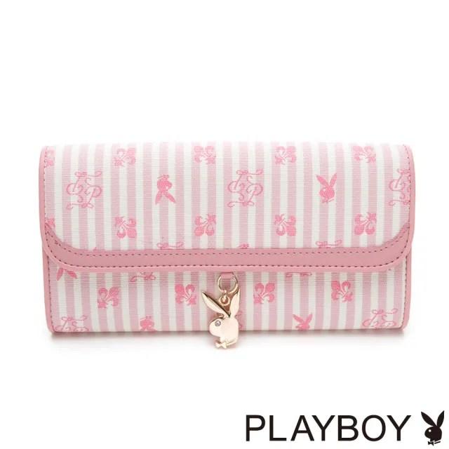 【PLAYBOY】翻蓋長夾 龐克兔系列(粉色)