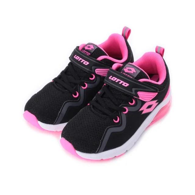 【LOTTO】19-23 cm  中大童鞋 VIGOR RIDE 氣墊跑鞋 LT9AKR0593 黑粉(LT9AKR0593)