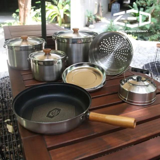 【ZED】戶外不鏽鋼鍋具組II XL ZBACK0305(304不銹鋼、三層式鍋面、鑽石塗層、附贈收納袋)