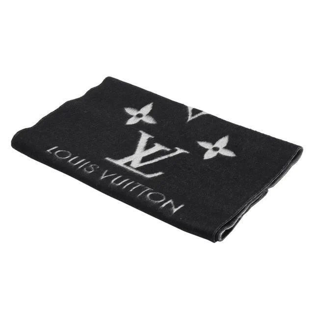【Louis Vuitton 路易威登】M71040 Reykjavi MONOGRAM暗花圖案圍巾(黑)