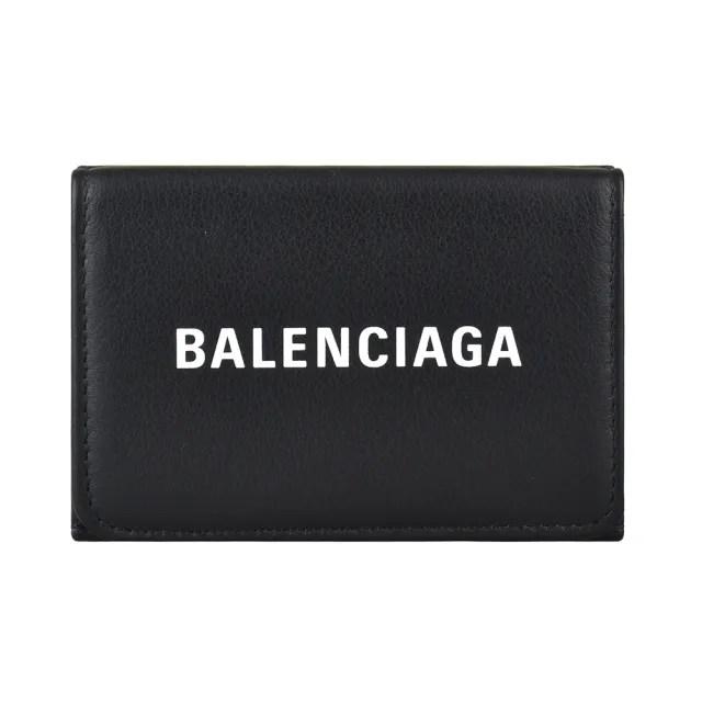 【Balenciaga 巴黎世家】BALENCIAGA EVERYDAY白字燙印LOGO小牛皮3卡扣式三折短夾(迷你/黑)