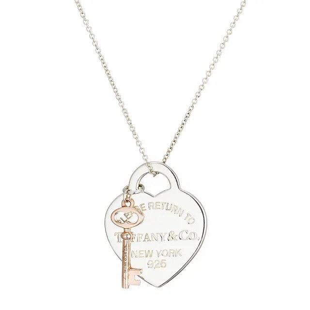 【Tiffany&Co. 蒂芙尼】愛心 金鑰匙 925純銀墜飾項鍊