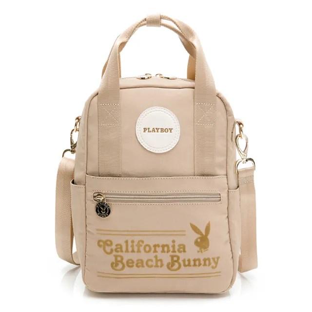 【PLAYBOY】後背包可肩背 California Bunny系列(米黃色)