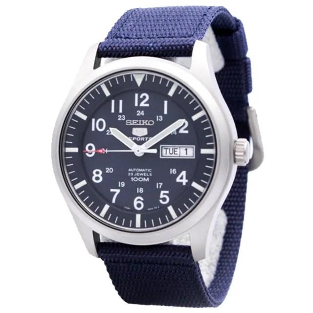【SEIKO 精工】運動機械男錶 帆布錶帶 深藍 防水100米(SNZG11K1)