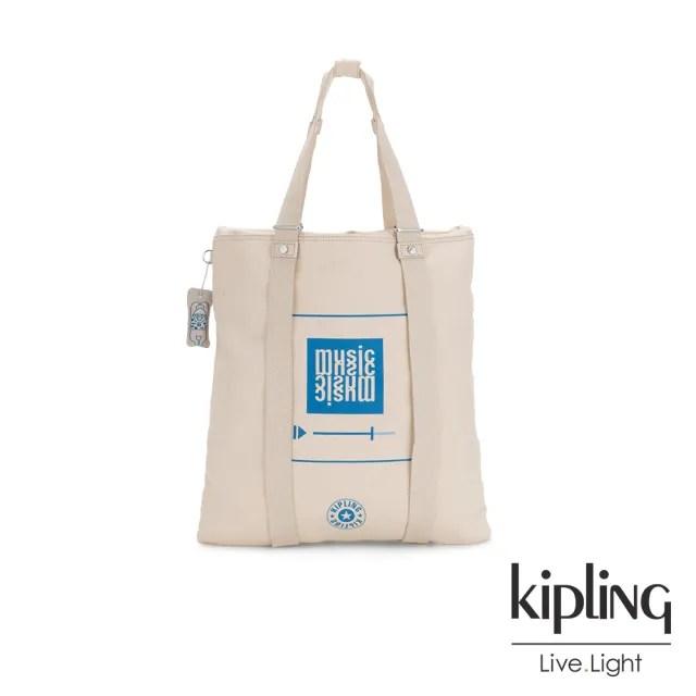 【KIPLING】音樂派對趣味播放器圖騰大容量手提帆布包-LOVILIA