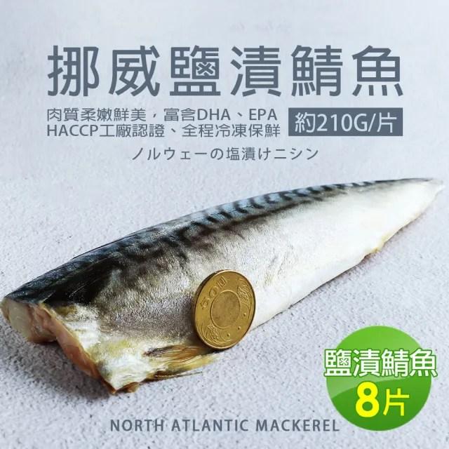 【築地一番鮮】厚片超大油質豐厚挪威薄鹽鯖魚8片(約210g/片)