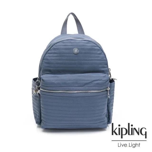 【KIPLING】沉穩知性藍灰色實用拉鍊後背包-SORDA