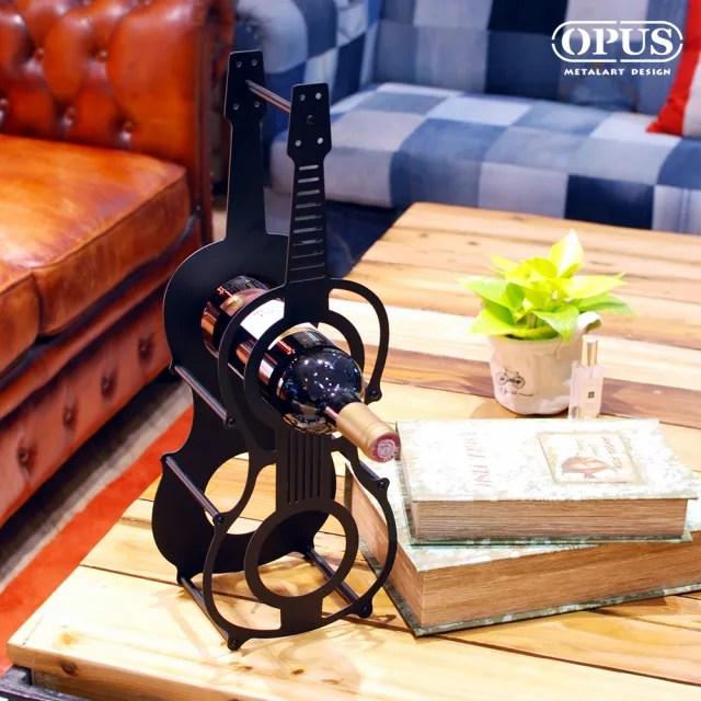 【OPUS 東齊金工】歐式鐵藝 酒瓶展示架/酒托裝/紅酒櫃擺件/紅酒杯架(提琴酒架 WR-vi02B)