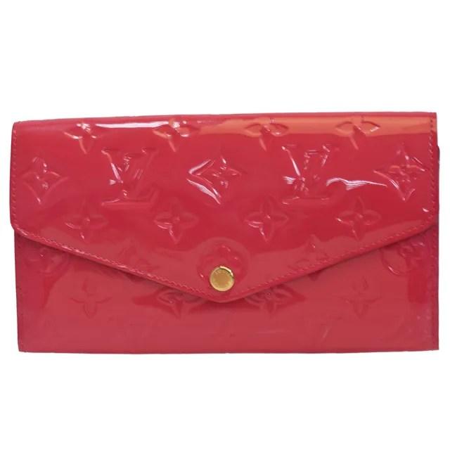 【Louis Vuitton 路易威登】M90313經典Sarah系列Verins漆皮暗釦長夾(桃紅)