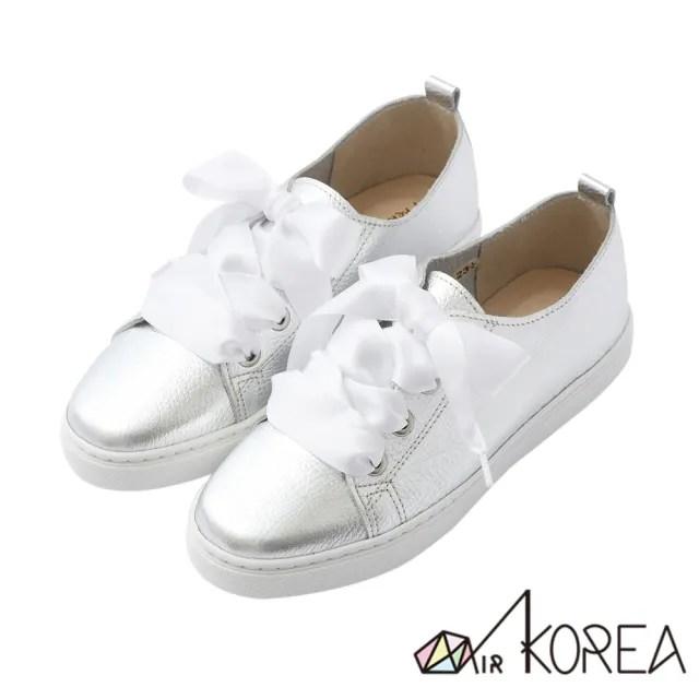 【AIRKOREA】懶人鞋-真皮鞋-全真皮手工3M防水抗污真皮甜美綁帶兩用鞋-銀(5220-1815)