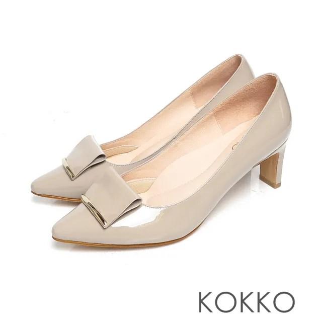 【KOKKO 集團】優雅品味小方頭牛漆皮舒壓鞋墊扁跟鞋(復古灰)